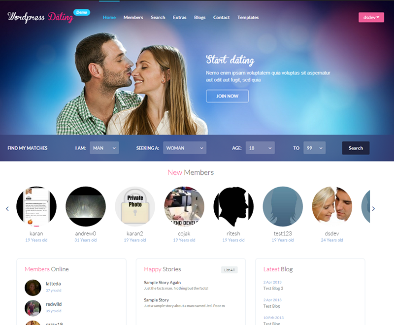 WP Dating Theme (Requires WPDating Plugin)