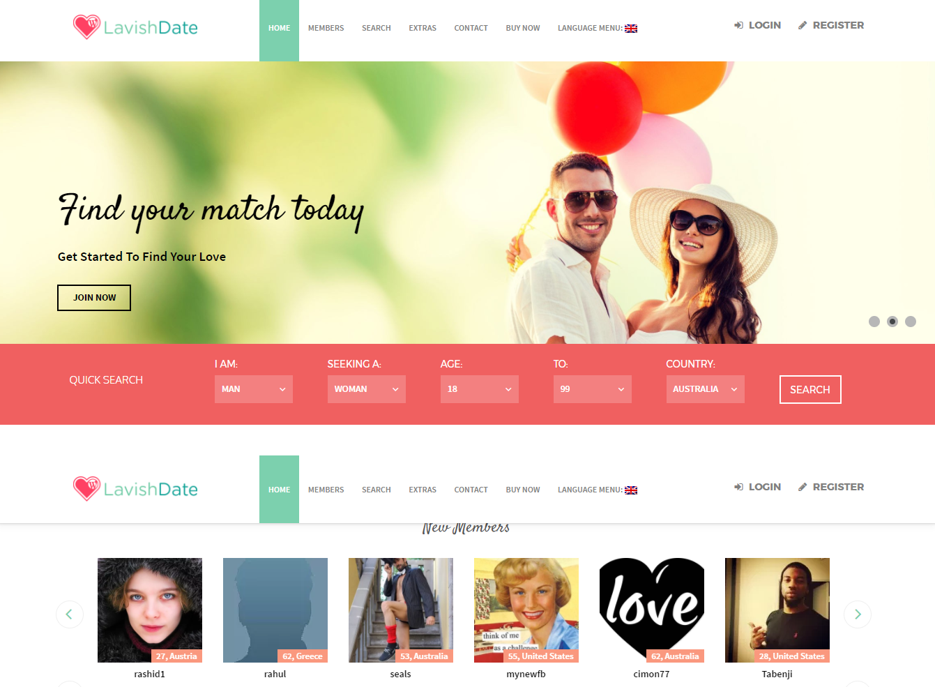 Lavish Date Theme(Requires WPDating Plugin)