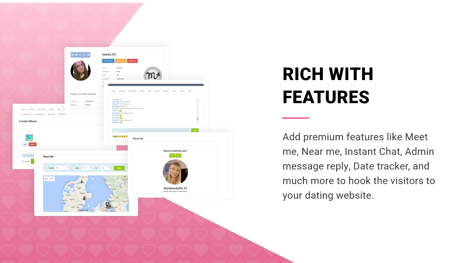 Premium WP Dating theme is rich with features.