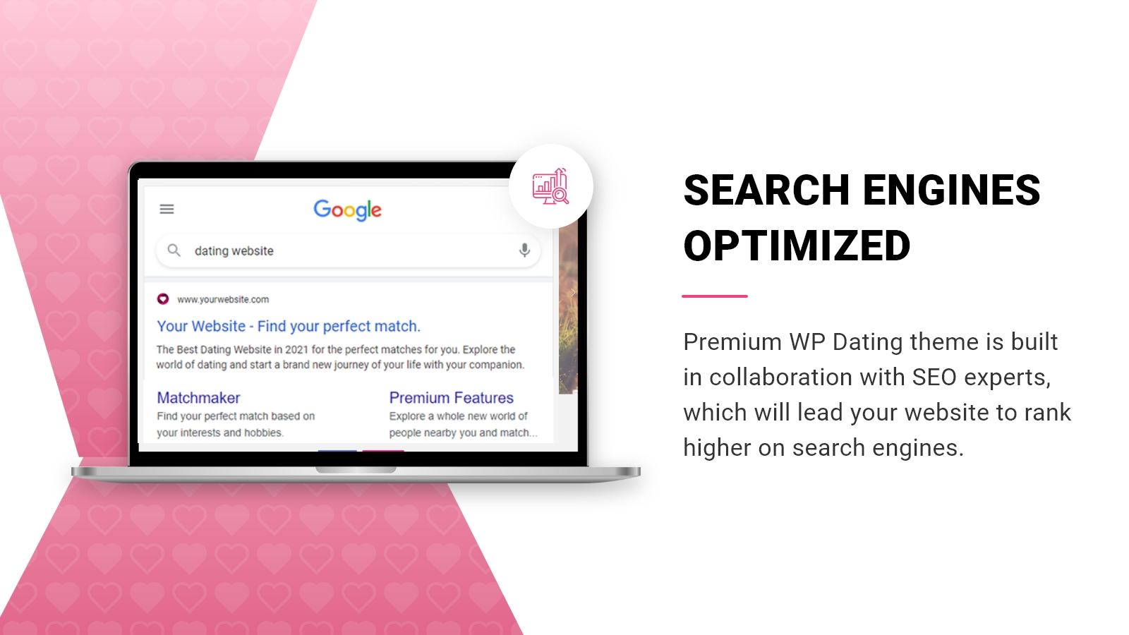 Premium WP Dating theme is search engine optimized