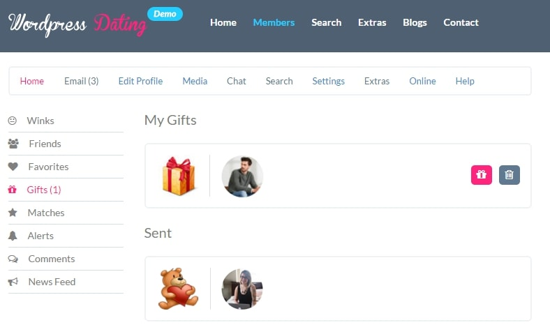 You have the option to delete gifts you previously approved